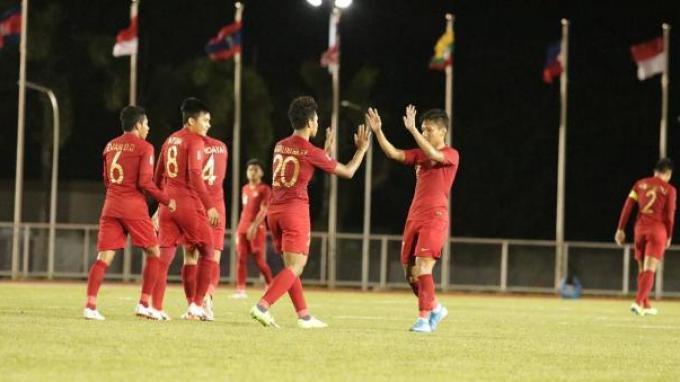 Selebrasi para pemain Timnas Indonesia U-23 setelah menciptakan gol ke gawang Brunei Darussalam di ajang Sea Games 2019.