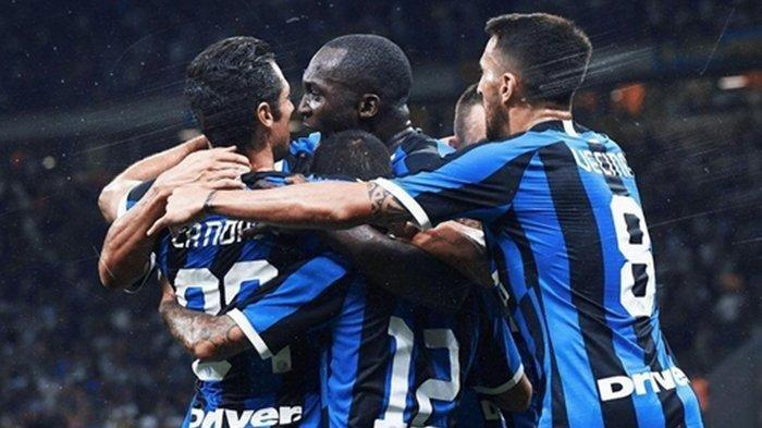 Selebrasi pemain Inter Milan melawan Lecce, Selasa (27/8/2019)