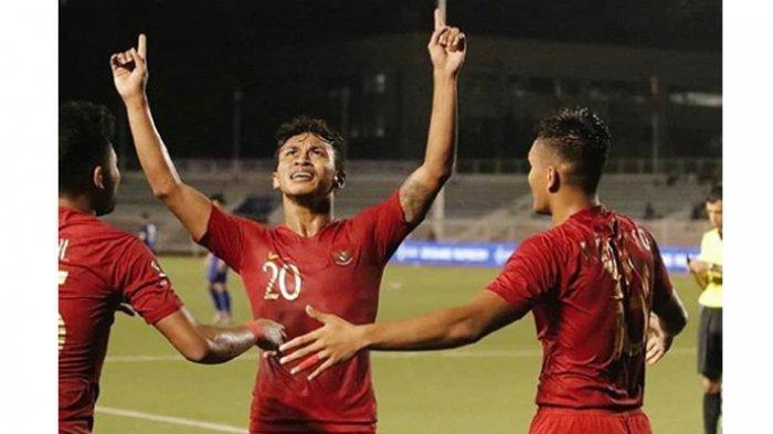 Selebrasi striker Timnas Indonesia U-23, Osvaldo Haay seusai mencetak gol.