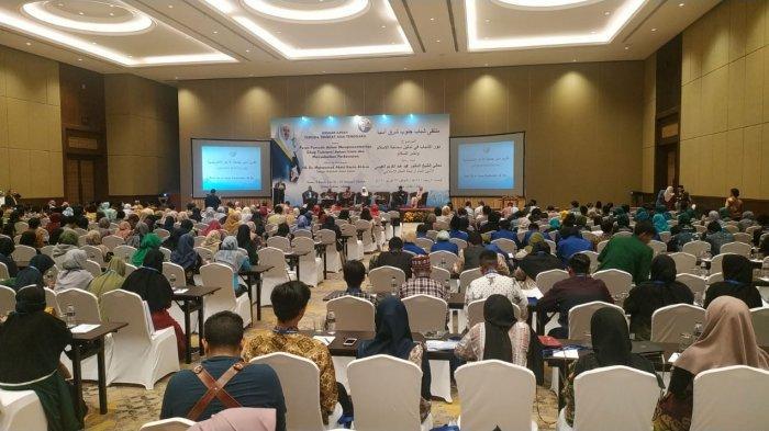 Suasana seminar 'Peran Pemuda dalam Mempresentasikan Sikap Toleransi dalam Islam dan Menyebarkan Perdamaian' yang diselenggarakan Rabithah Alam Islami bersama Universitas Al Azhar dan Institut Pemimpin Pemuda Al Azhar (AYLI) Jakarta di Hotel Sultan, Jakarta, Sabtu (29/2/2020).