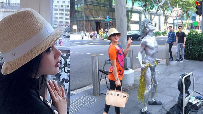 Yang Terpikir di Benak Syahrini Ketika Ketemu Seniman Setengah Telanjang di Singapura