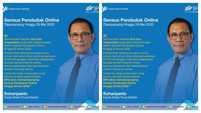 Sensus Penduduk Online 2020 Diperpanjang 29 Mei 2020, Sudah 32,4 Juta Orang Isi Data.