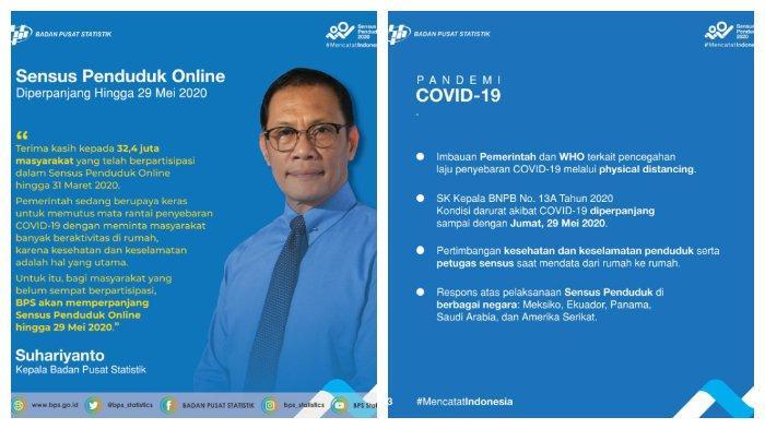 Imbas Corona, Sensus Penduduk Online 2020 Diperpanjang 29 Mei 2020, Sudah 32,4 Juta Orang Isi Data.