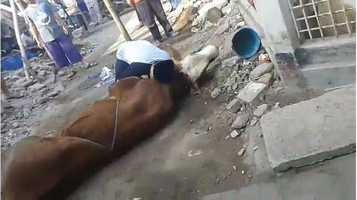 Seorang panitia kurban berinisial AH meninggal dunia saat hendak menyembelih hewan kurban di Cimahi Selatan, Kota Cimahi, Minggu (11/8/2019).