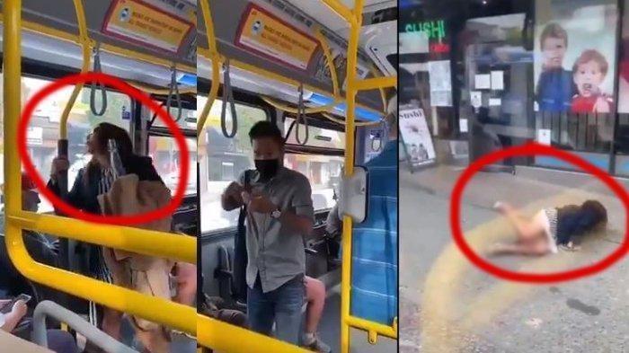 Viral di Medsos, Wanita Ludahi Penumpang Bus Didorong hingga Jatuh
