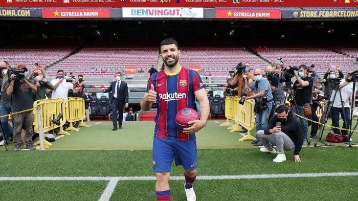 Sergio Aguero diperkenalkan sebagai penyerang baru Barcelona.
