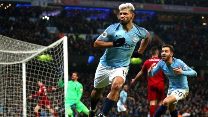 Sergio Aguero usai cetak gol