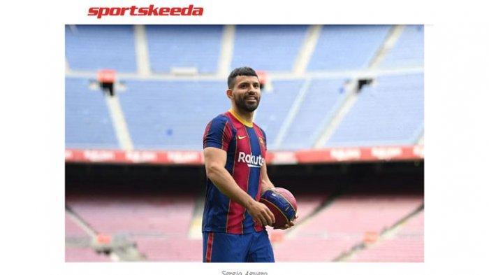 Sergio Aguero saat diperkenalkan sebagai penyerang Barcelona