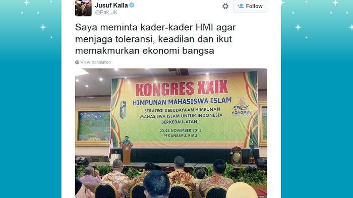 Seruan JK pada Kader HMI Justru Berbalik Menjadi Kecaman di Twitter