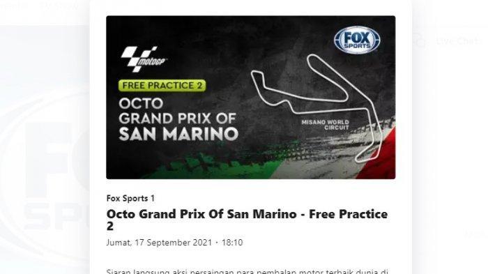 Sesi latihan bebas pertama dan kedua MotoGP San Marino di Sirkuit Misano dapat disaksikan melalui live streaming Fox Sports via Vidio.com, Jumat (17/9/2021).