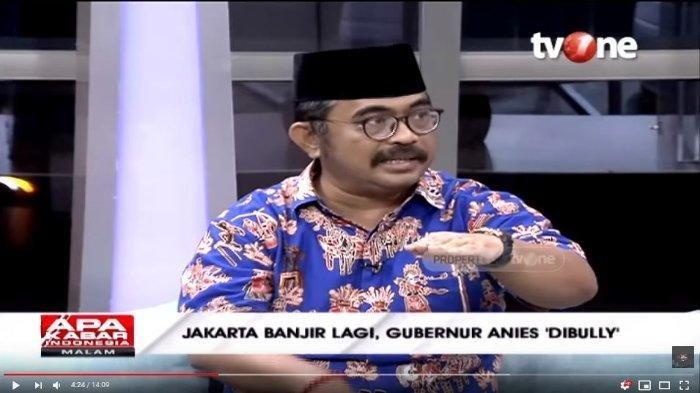 Wakil Ketua Bamus Betawi, Rahmat HS dalam tayangan YouTube Talk Show tvOne, Minggu (23/2/2020). Rahmat HS memuji Anies Baswedan soal penanganan banjir Jakarta.
