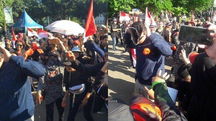 Setelah Digugat, Anies Baswedan Diprotes, Ada Aksi Teatrikal Lempar Tomat ke Sosok Bertopeng Anies