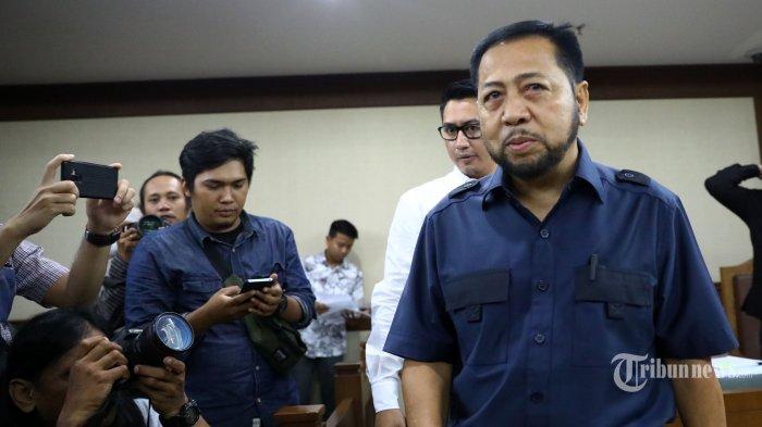 terpidana kasus korupsi KTP Elektronik Setya Novanto menjalani sidang peninjauan kembali (PK) di gedung Tipikor, Jakarta, Rabu (28/8/2019). Mantan Ketua DPR tersebut mengajukan upaya hukum peninjauan kembali (PK) dalam perkara korupsi pengadaan KTP Elektronik. TRIBUNNEWS/IRWAN RISMAWAN