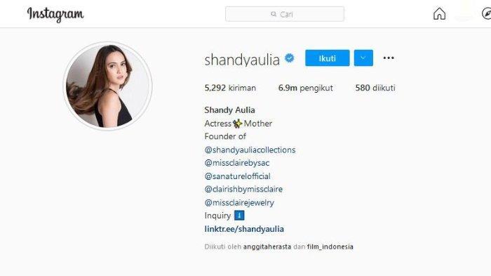 Shandy Aulia kepergok mengganti bio di akun Instagram pribadinya @shandyaulia.