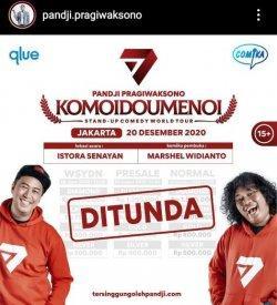 Pengumuman pemunduran jadwal spesial show Komoidoumenoi Pandji Pragiwaksono di Jakarta dan Yogyakarta