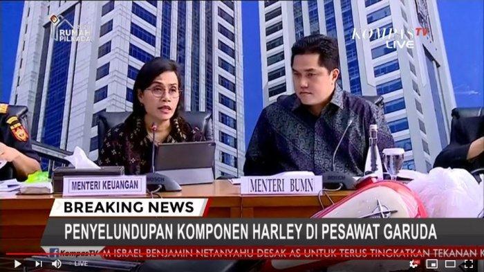 Siaran Pers kasus penyelundupan Harley Davinsion disampaikan oleh Menteri Keuangan Sri Mulyani dan Menteri BUMN Erick Tohir, Kamis (5/12/2019)