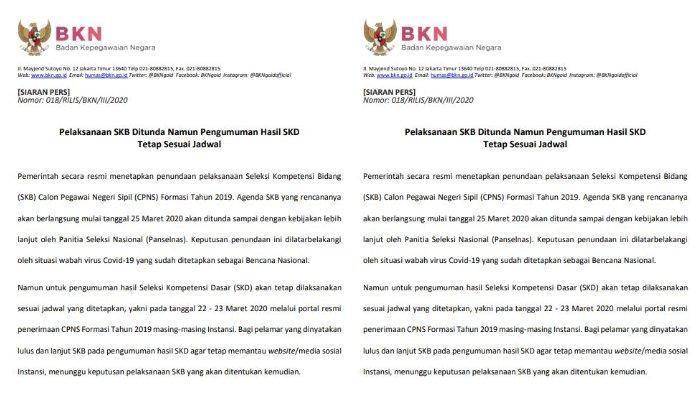 Update CPNS: Pelaksanaan SKB Ditunda, Hasil SKD Diumumkan pada 22 - 23 Maret 2020, Ini Cara Ceknya.