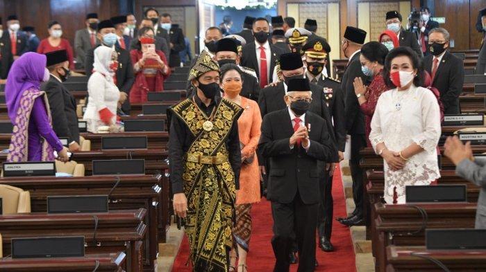 Presiden Jokowi dan Wapres Maruf Amin di Sidang Tahunan MPR RI, Jumat, 14 Agustus 2020.