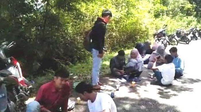 Mahasiswa di Pedalaman Nagan Raya Naik ke Gunung Agar Mendapatkan SInyal, Belajar di Badan Jalan