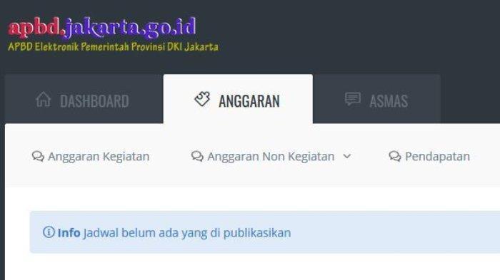Situs APBD DKI Jakarta bagian Anggaran hanya menampilkan tulisan