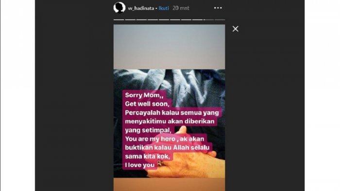 Siwi Widi lewat instagram story mengunggah tulisan fitnah tentang dirinya.