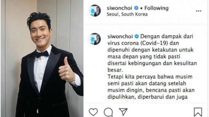Siwon Choi Super Junior Unggah Pesan Menyentuh Soal Covid-19 dengan Bahasa Indonesia