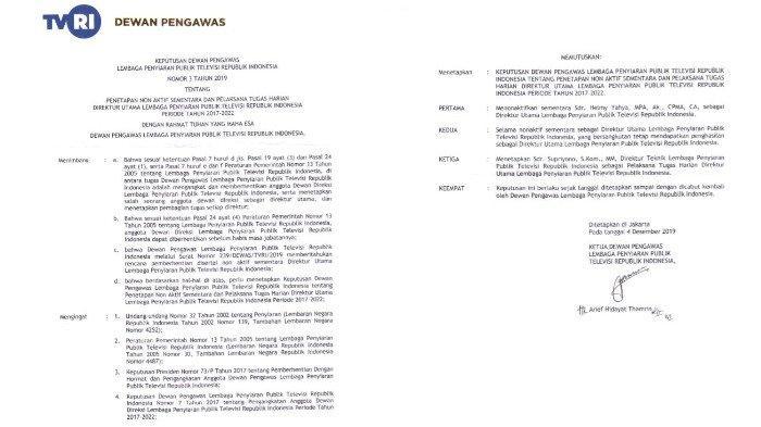 Surat Keputusan Dewan Pengawas LPP TVRI