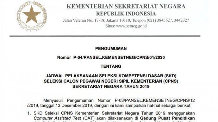 Pelaksanaan Tes SKD CPNS 2019 di Kemensetneg Dimulai Hari Ini, 17 Februari 2020, Simak Ketentuannya
