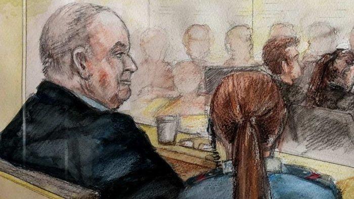 Sketsa John Chardon di persidangan kasus pembunuhan istrinya, Novy, di Pengadilan Australia. (ABC NEWS)