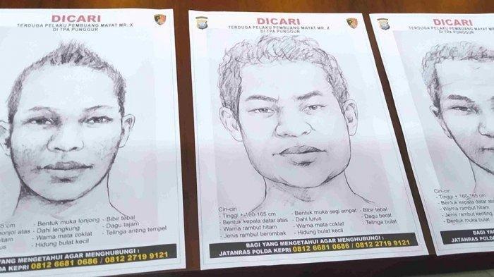Polisi Rilis SketsaWajah 3 Terduga Pelaku Pembunuh Mr X di TPA Punggur Batam