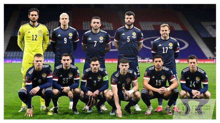 Skuad Skotlandia saat hadapi Kepulauan Faroe dalam ajang Kualifikasi Piala Dunia Grup F yang berakhir kemenangan Skotlandia dengan skor telak 4-0, pada 1 April 2021.
