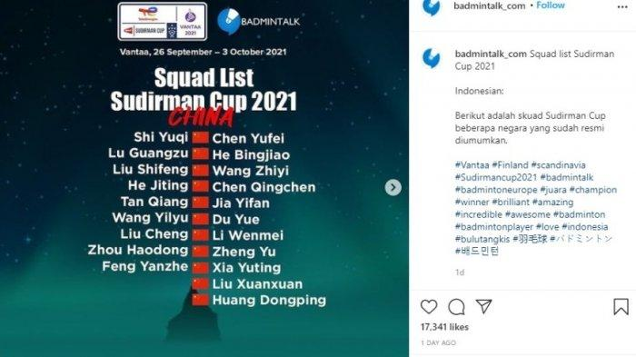 Daftar Skuat China di Piala Sudirman 2021