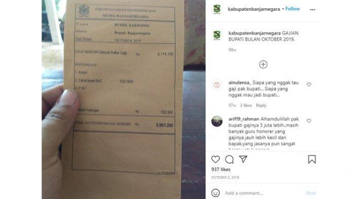 Slip gaji bupati Banjarnegara yang diunggah pada Oktober 2019 lalu.