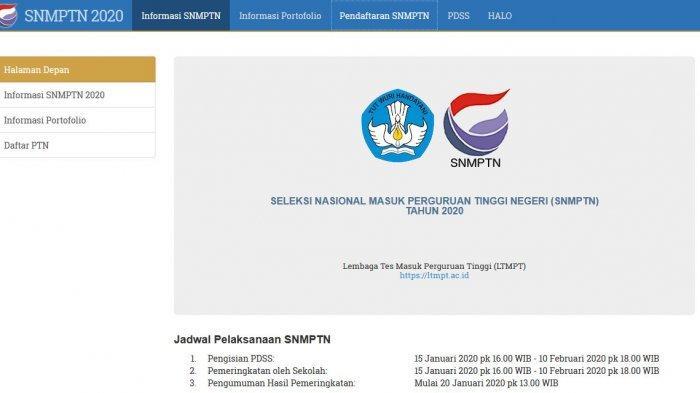 SNMPTN 2020.(Tangkap Layar snmptn.ac.id)
