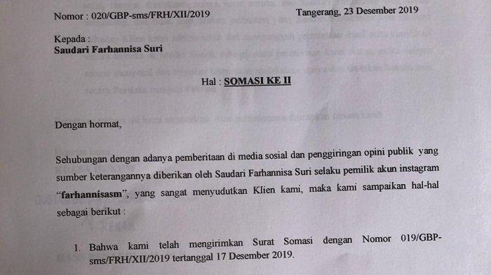 Pramugari Garuda Ini Kirim Somasi ke-2 ke Farhannisa Suri, Tuntut Minta Maaf Terbuka