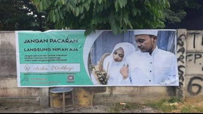 Spanduk ajakan menikah muda aisha weddings (sumber: fb aisha weddings)