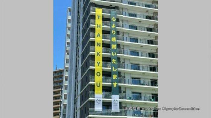 Australia Pasang Spanduk Raksasa di Gedung Olympic Village, Ucapan Terima Kasih untuk Jepang