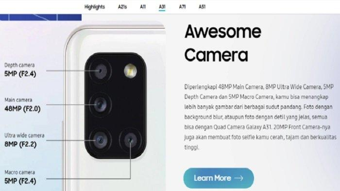 Spesifikasi Samsung Galaxy A31, Ponsel Rp 4,4 Jutaan dengan Kapasitas RAM 8GB