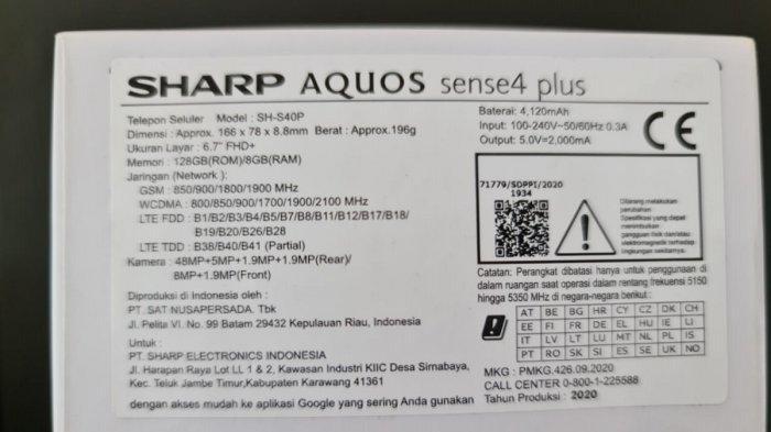 Spesifikasi Sharp Aquos Sense4 Plus