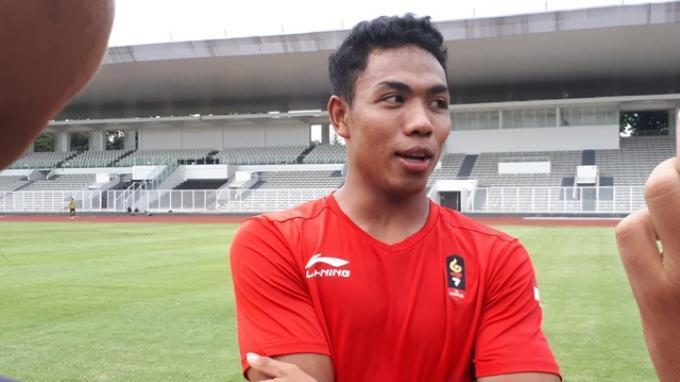 Sprinter muda Indonesia, Lalu Muhammad Zohri saat ditemui setelah menjalani latihan di Stadion Madya, Jakarta, Selasa (9/4/2019).