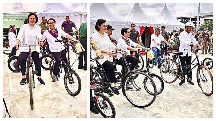 Potret Sri Mulyani Menteri Keuangan Naik 'Pit Kebo' Gowes Bareng Jokowi di Kota Lama Semarang