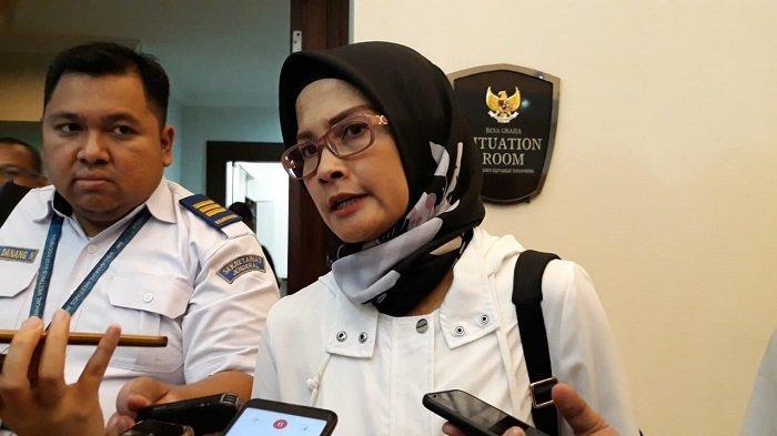 Staf Khusus Kementerian Perhubungan Adita Irawati di Kantor Staf Kepresidenan (KSP), Jakarta, Rabu (12/2/2020).