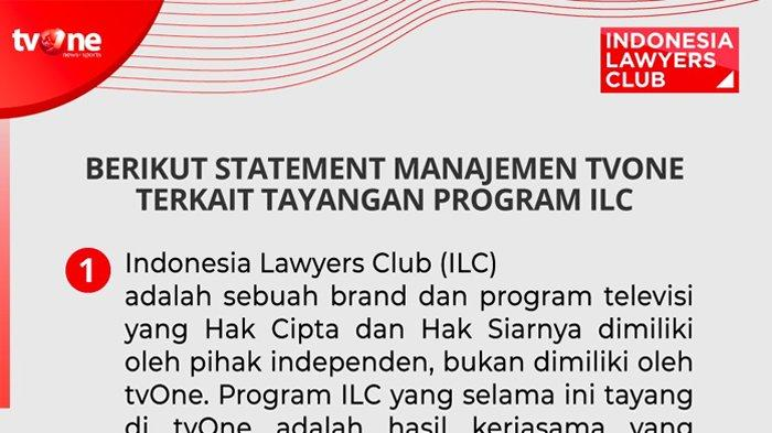 Statement Lengkap Manajemen TVOne Terkait Program ILC: Pastikan Tetap Tayang di YouTube