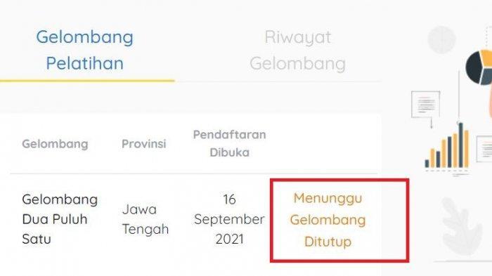 Arti Status Menunggu Gelombang Ditutup di Akun Kartu Prakerja Gelombang 21, Cek www.prakerja.go.id