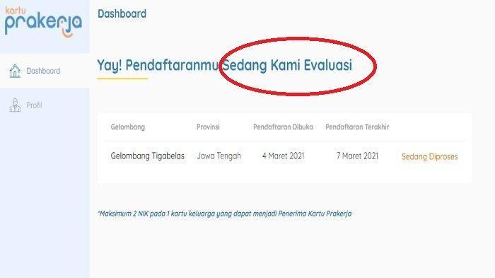 Arti Status Sedang Dievaluasi di Akun Kartu Prakerja Gelombang 13, Cek di www.prakerja.go.id