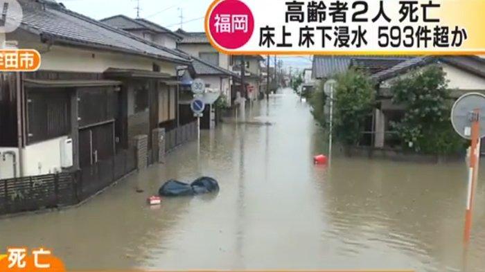 Suasana Banjir di Kota Omuta Fukuoka, Jepang.