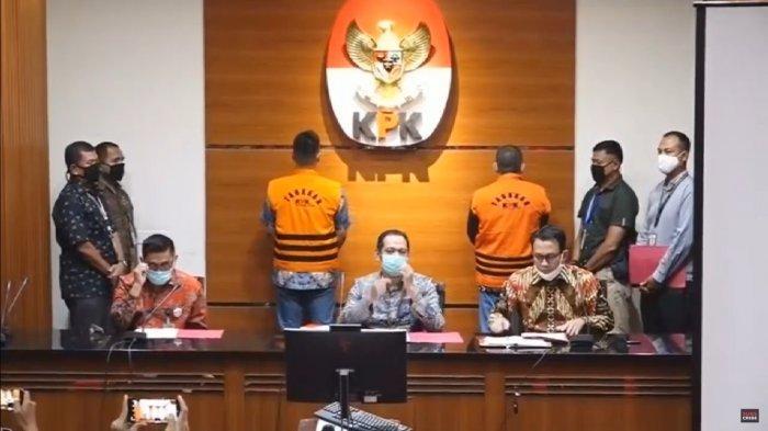 Suasana konferensi pers terkait penangkapan mantan Sekretaris Mahkamah Agung (MA), Nurhadi beserta menantunya Rezky Herbiyono, Senin (2/6/2020).