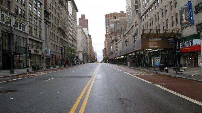 Suasana New York yang sepi saat lockdown akibat virus corona