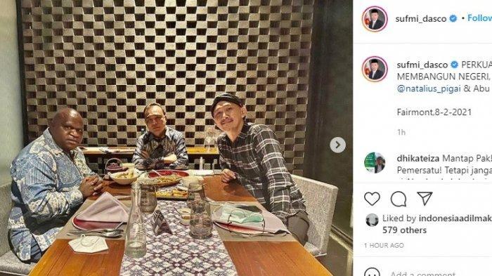 Postingan Sufmi Dasco yang memperlihatkan pertemuan Abu Janda dan Natalius Pigai