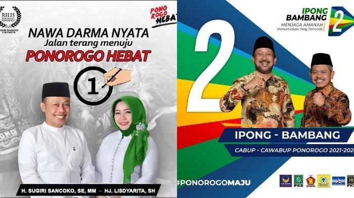 Hasil sementara Pilkada Ponorogo 2020 versi data KPU, Minggu (12/12/2020), Sugiri-Lisdyarita unggul, selisih 24,2% dengan Ipong-Bambang Tri.